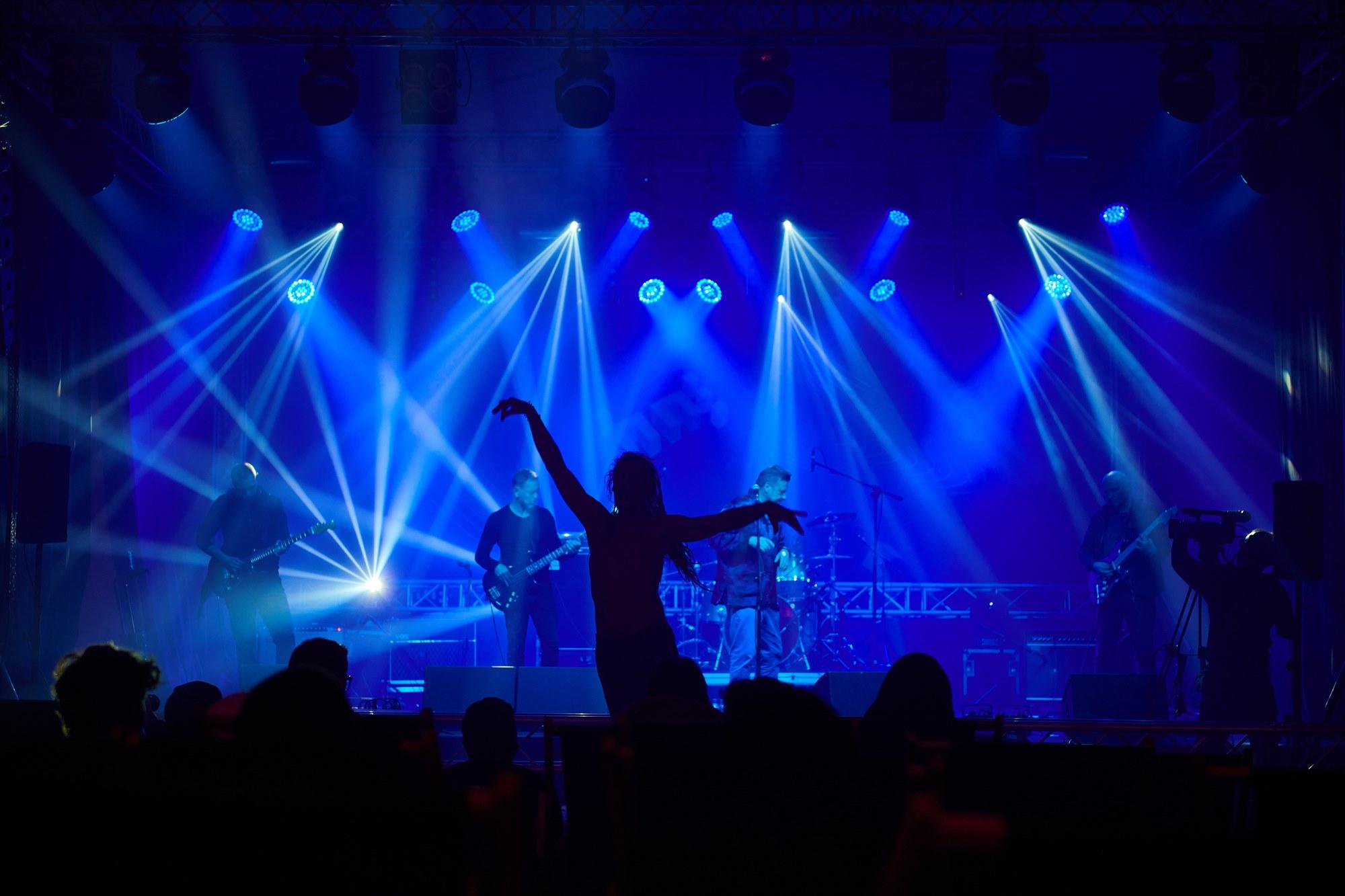 [Zdjęcie z koncertu zespołu Bielizna przedstawia sylwetkę osoby z publiczności z rękami w górze wpatrującą się w grający na scenie zespół. W tle oświetlona na niebiesko scena, a na niej trzech gitarzystów i wokalista.]