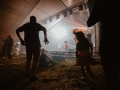 [Zdjęcie z koncertu z perspektywy widowni. Na pierwszym planie sylwetki tańczących osób pod sceną. W tle zespół grający koncert - mężczyzna w czerwonej koszuli i ciemnych włosach przy mikrofonie na statywie grający na gitarze oraz mężczyzna w białej koszuli grający na trąbce. Białe światło na scenie.]
