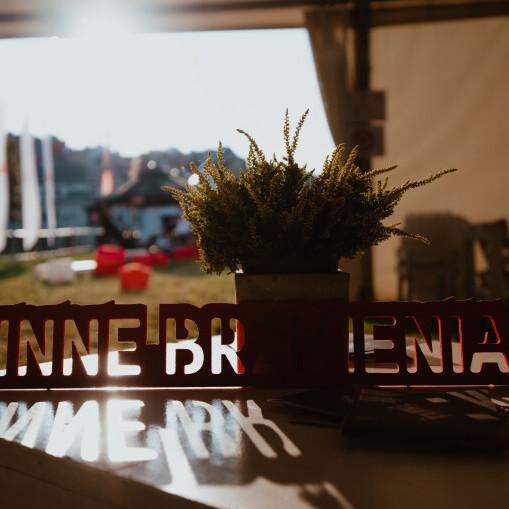 Zdjęcie ilustracyjne. Widok z wnętrza namiotu festiwalowego. Na pierwszym planie, na stoliku stoi oparty o kwiatek doniczkowy czerwony napis Inne Brzmienia wykonany z tworzywa sztucznego.