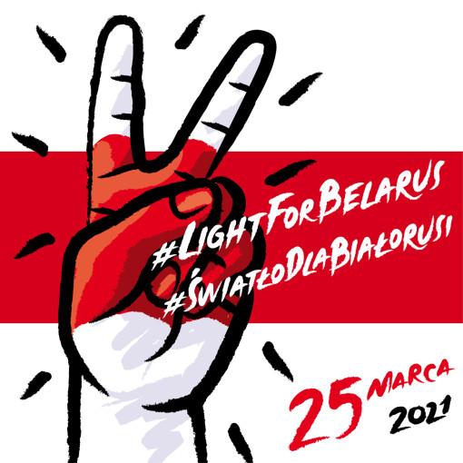 [Flaga Białorusi i napis #LiGHTFORBELARUS #ŚWIATŁODLABIAŁORUSI 25 marca 2021.]