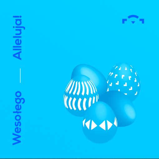 """[Niebieska kartka wielkanocna z napisem """"Wesołego Alleluja!"""" , obok logo Warsztatów Kultury i przedstawienie, geometrycznie udekorowanych pisanek.]"""